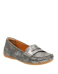 Clarks Doraville Nest Embossed Leather Penny Loafers Pewter