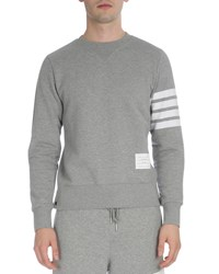 Thom Browne Classic Crewneck Sweatshirt With Striped Sleeve Light Gray Men's Light Grey