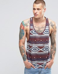 Asos Linen Look Vest With Aztec Print And Extreme Racer Back Red