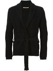 Nuur Shawl Lapels Ribbed Cardigan Black