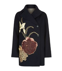 Valentino Floral Embroidered Pea Coat Female Navy