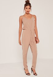 Missguided Camel Crepe Drawstring Waist Slouch Jumpsuit