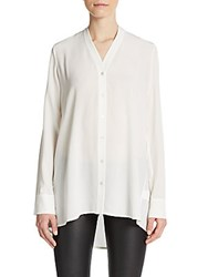 Vince Vee Button Front Blouse Off White