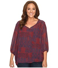 Stetson Plus Size Native Patchwork V Neck Blouse Red Women's Blouse