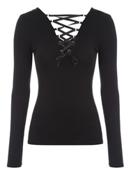 Jane Norman Reversible Lace Up Ribbon Top Black