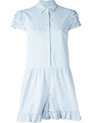 Red Valentino Striped Playsuit White