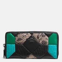 Coach Canyon Quilt Accordion Zip Wallet In Exotic Embossed Leather Dark Gunmetal Black Turquoise Multi