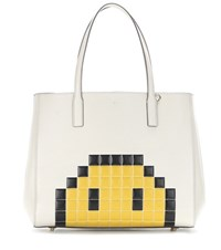 Anya Hindmarch Pixel Smiley Maxi Featherweight Ebury Leather Tote White