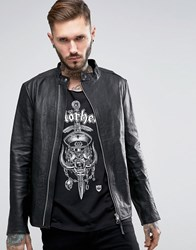 Religion Leather Jacket With Asymetrical Zip Black