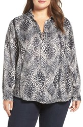 Tart Plus Size Women's Georgia Lace Up Blouse Leopard Overlay