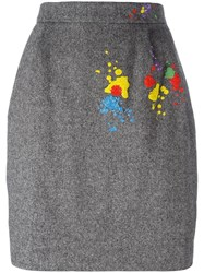 Olympia Le Tan Embellished Detail Skirt Grey