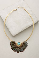 Anthropologie Plumed Collar Necklace Gold