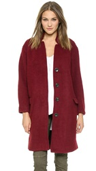 Free People Solid Long And Lean Overcoat Red Velvet