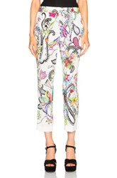 Etro Printed Pants In White Abstract Animal Print Floral Green