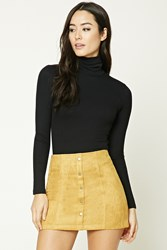 Forever 21 Faux Suede Mini Skirt Mustard