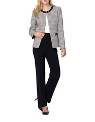 Tahari By Arthur S. Levine Petite Tweed Open Jacket And Pant Suit Tan Black