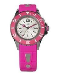 Kyboe Neon Pink Silicone And Stainless Steel Strap Watch 40Mm