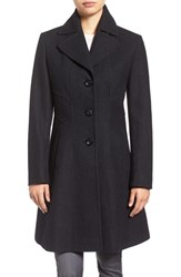 Larry Levine Women's Fit And Flare Coat Charcoal
