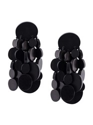 Monies Disc Tassel Clip On Earrings Black