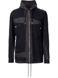 Mihara Yasuhiro Denim Patch Hooded Jacket Black