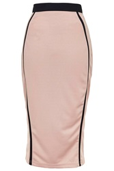 Contrast Binding Midi Skirt By Rare Dusty Pink