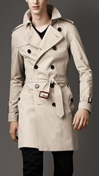 Burberry Mid Length Cotton Gabardine Raglan Trench Coat