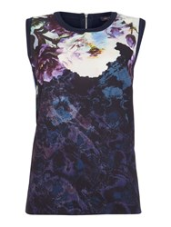 Pied A Terre Printed Woven And Knitted Vest Top Navy