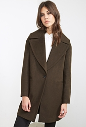 Forever 21 Topstitched Wool Blend Overcoat