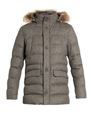 Herno Fur Trimmed Silk And Cashmere Blend Padded Parka Grey