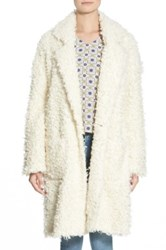 Minkpink 'Just Obsessed' Faux Fur Long Coat Juniors White