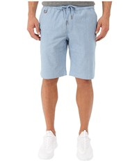 Publish Saar Stretch Chambray On Elastic Waistband Shorts Light Blue Men's Shorts