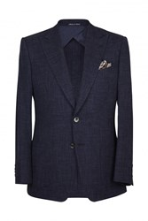 Chester Barrie Ebury Wool Silk Linen Blazer Dark Blue