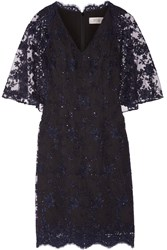 Badgley Mischka Embellished Lace Trimmed Tulle Dress Blue