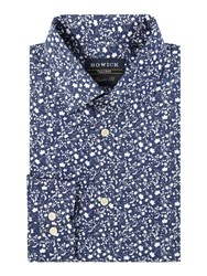 Howick Boston Floral Print Classic Shirt Navy