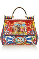 Dolce And Gabbana Sicily Medium Printed Textured Leather Shoulder Bag