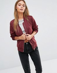 New Look Sateen Bomber Dark Burgundy Red