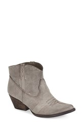 Women's Very Volatile 'Mishka' Perforated Western Bootie Grey Faux Leather