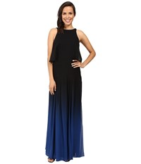 Halston Ombre Gown With Back Cut Out Black Ultramarine Women's Dress Blue