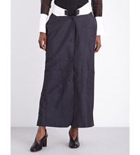 Thom Browne Low Rise Wool And Mohair Blend Skirt Dark Grey