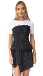 Marissa Webb Mae Pinstripe Bustier Top Lake Twilight