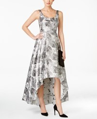 Betsy And Adam Brocade Floral Print High Low Gown Silver