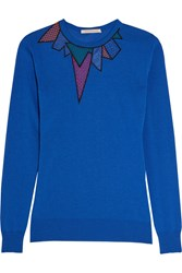 Christopher Kane Guipure Lace And Mesh Paneled Knitted Sweater Cobalt Blue