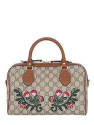 Gucci Flower Patches Gg Supreme Top Handle Bag