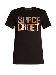 House Of Holland Space Cadet Foil Print Oversized T Shirt Black