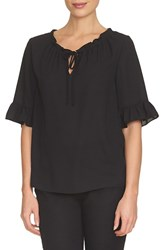 Women's Cece By Cynthia Steffe Ruffle Trim Tie Neck Blouse Rich Black