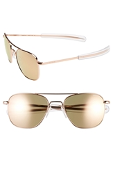Randolph Engineering 55Mm Aviator Sunglasses Rose Gold Flash