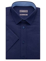 John Lewis Regular Fit Short Sleeve Shirt Navy