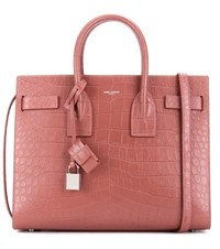 Saint Laurent Sac De Jour Small Embossed Leather Tote Pink
