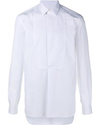 Maison Martin Margiela Half Button Cotton Long Sleeve Shirt White Black