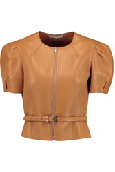 Michael Kors Belted Leather Jacket Brown